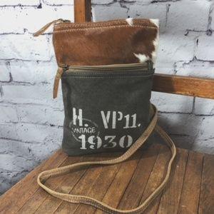 NEW Vintage Canvas & Cow Hide Crossbody Bag